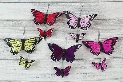 12 10cm 4cm Real Feather Butterflies Butterflys On Clip Cakes Crafts Card Making