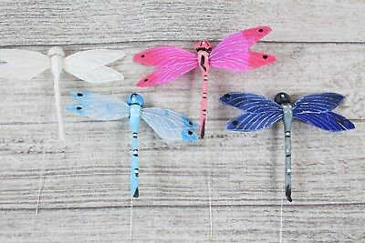 6 10cm Real Feather Dragonfly Dragonflys On Wire Cakes Crafts Card Making