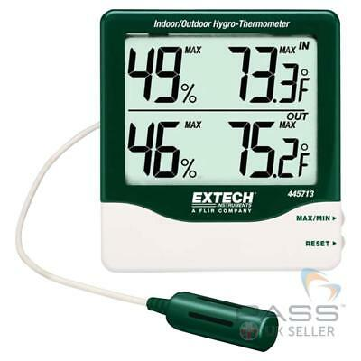 *NEW* Extech 445713 Big Digit Indoor & Outdoor HygroThermometer + Accessories