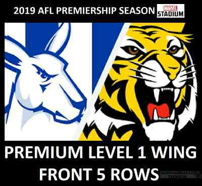 AFL Tickets   North Melbourne Kangaroos vs Richmond Tigers    Level 1 Wing