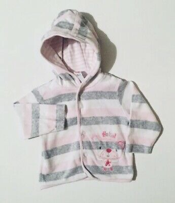M&Co Baby Girls Pink And Grey Hoodie Jumper 3-6 Months Long Sleeve