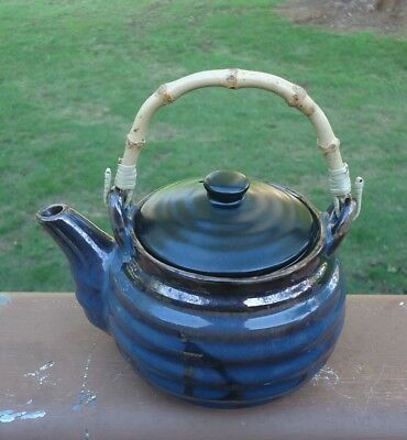 Home & Giftware Casauna Pottery 2-3 Cup Teapot & Infuser *Brown & Blue Glazes