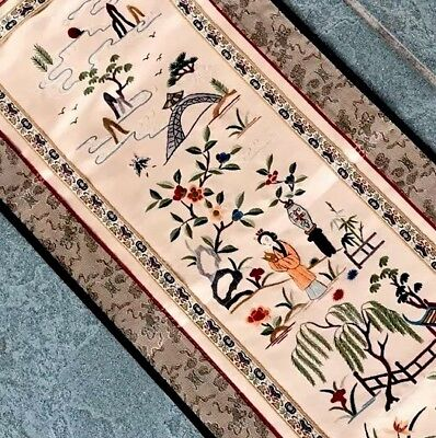 Vintage Hand Embroidered Chinese Cream Silk Embroidered Panel With Label