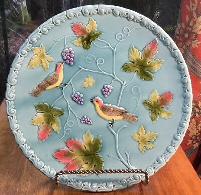 """Turquoise German Majolica Birds & Grapes Platter by Zell 11.25"""""""