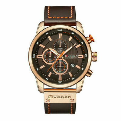 Curren Mens Leather Band Strap Wristwatch Sports Military Quartz Watch With Box