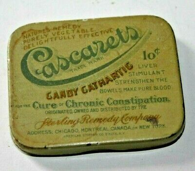 Vintage Cascarets Candy Cathartic Constipation Cure Tin Sterling Remedy Company