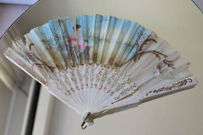antiker Fächer-edle struktur-Seide-handbemalt/noble antique handpainted silk fan