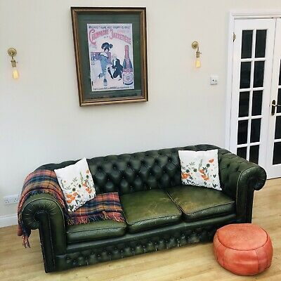 Vintage Green Leather Chesterfield 3 Seater Sofa