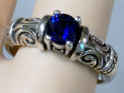 1Ct Blue Sapphire Antique 925 Sterling Silver Ring Size 9.5 Usa Made Old Style