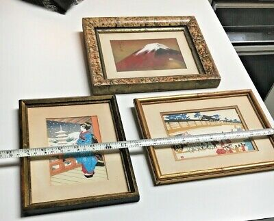 2 Antique Japanese Wood Block Prints+Signed Water color gilded Volcano painting