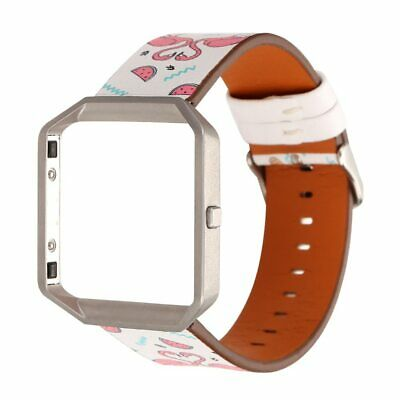 Leather Watch Band Strap Replacement Wrist Bracelet for Fitbit Blaze with Frame