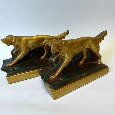 Antique Art Deco Pointer Setter Hunting Dog Bookends Armor Bronze Clad