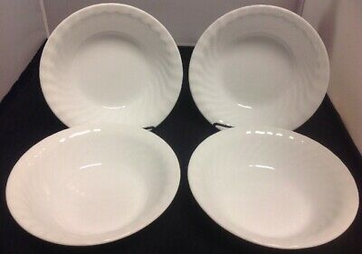 "CORELLE White Swirl Enhancements Set of 4 - 7 1/4"" Soup/Cereal Bowls"