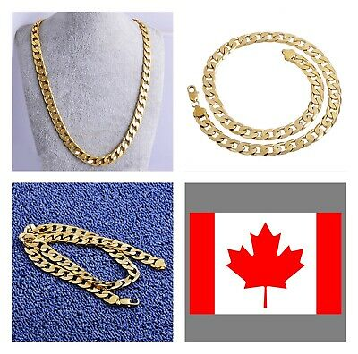 """Men's Gold Chain 18k Gold Plated Fashion Jewelry - 7mm 24"""""""