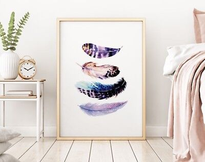 Abstract Purple Bird Feathers Stylish Modern Home Bedroom Wall Art Print Picture