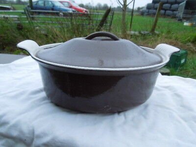 Vintage Cousances  Early Le Creuset Oval Brown Casserole Dish - Very Good Order