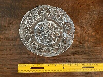 """Antique Sawtooth Pinwheel Pressed Glass 4 part Serving Bowl ~ Candy Dish 8"""""""