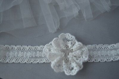 Handmade baby flower headband for baptism, christening hair band with cross UK