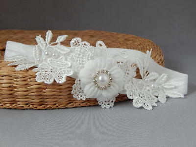 Lace baby baptism headband, off white butterfly hair band, wedding, christening