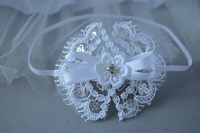 Baby lace headband white wedding bow, baptism christening flower girl Handmade