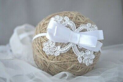 Baby headband white bow sequin hairband for baptism christening wedding Handmade