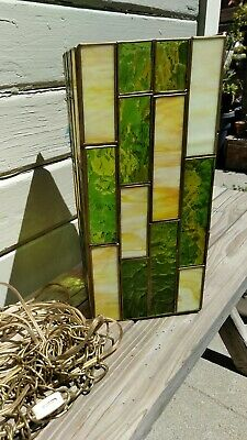 Vintage Stained Glass Hanging Lamp  (Doesn't Presently Hang But Still Works!)