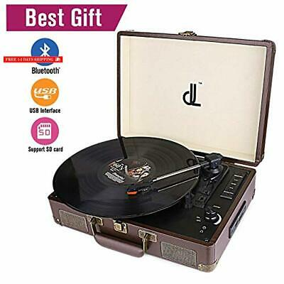 DL VINTAGE LEATHER Bluetooth Record Player Portable Suitcase Turntable, 3  Speed