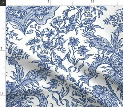 Chintz Floral Antique Blue And White Willow Fabric Printed by Spoonflower BTY