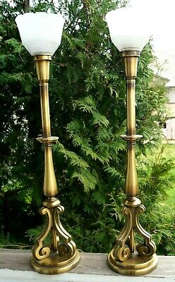 1940 - 50s Rembrandt Brass Electric Table Lamp Pair Mid Modern Hollywood Regency