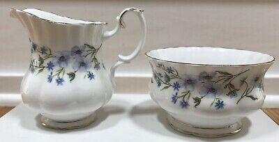 Royal Albert Blue Floral Flower Creamer Open Sugar Bowl Set England Bone China