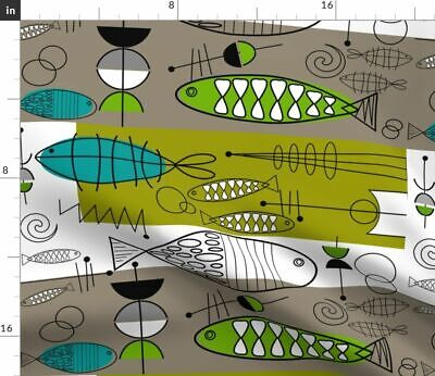 Mid Century Modern Fishing Vintage Inspired Fabric Printed by Spoonflower BTY
