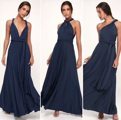 835e80ab6ea LULUS - Tricks of the Trade Navy Blue Convertible Maxi Dress Revolve ASOS -  XS