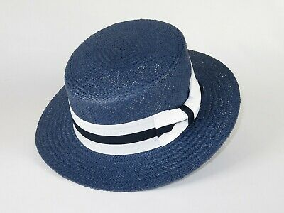 Men Summer Straw Hat BRUNO CAPELO Boater Skimmer 2 tone band Feather BC635 Navy