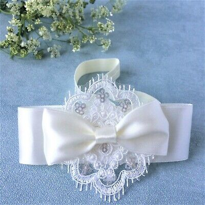 Ivory baby bow, newborn headband for baptism christening, flower girl Handmade