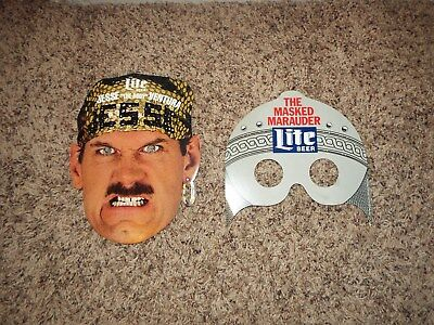 "1989 Masked Marauder+Jesse""The Body""Ventura Wrestling Miller Lite Beer Masks"
