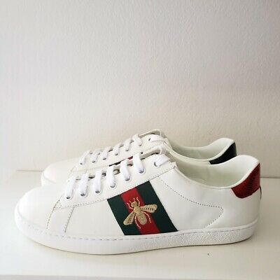 ea8e4d400 GUCCI ACE EMBROIDERED Bee Leather Sneaker | White | New | Size 8 UK ...