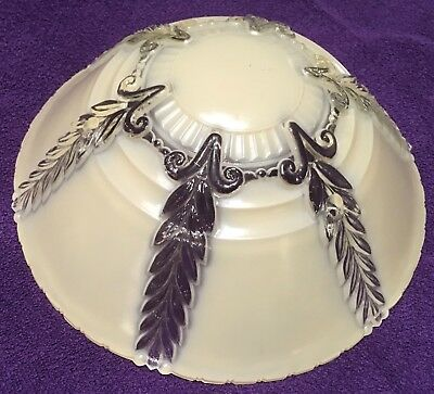 """Vintage Art Deco Glass Ceiling Light Lamp Shade = 3 Hole = 10 & 1/4"""" Wide"""