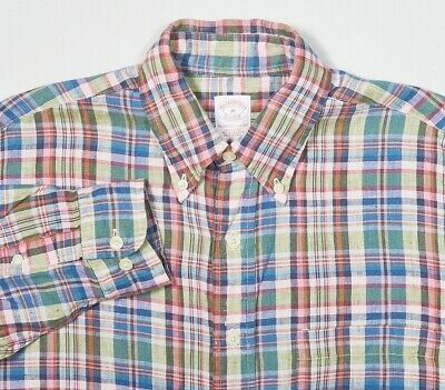 Mens BROOKS BROTHERS 'IRISH LINEN' Shirt M in Pine Green Pink Blue Madras Plaid