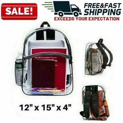 Large Heavy Duty Clear Backpack Transparent Bag School Office Travel Security