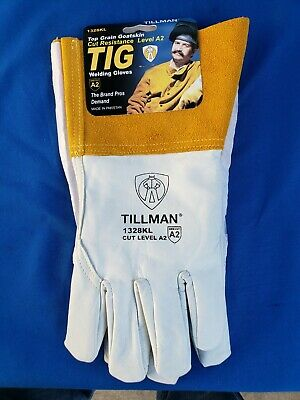 "TILLMAN 1328KL Top Grain Goatskin TIG Welding Gloves KEVLAR Large 4"" Cuff"