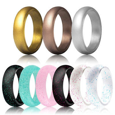 Hot Women Silicone Rubber Ring Hypoallergenic Wedding Band Sport Football Gym