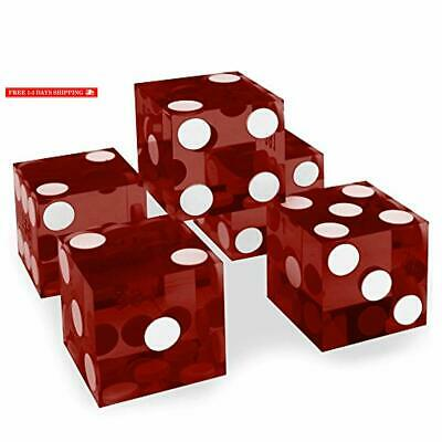Set of 5 Grade AAA 19mm Casino Dice with Razor Edges and Matching Serial Numbers