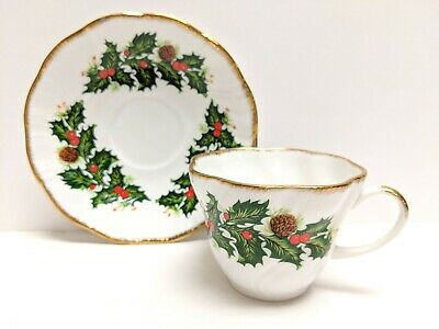 Rosina Queens Bone China Tea Cup & Saucer - Yuletide - Made In England