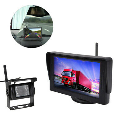 "Wireless Car Parking Reversing Camera + 4.3"" Rear View Monitor Kit Truck Bus Van"