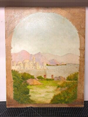 """Vintage Original Painting Signed Steven Dale 1980 Temple On Water 22x28"""""""