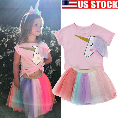 fddd69d791a5 Kids Baby Girl Cartoon Unicorn Top T-shirt Lace Tutu Skirt Outfit Clothes  Summer
