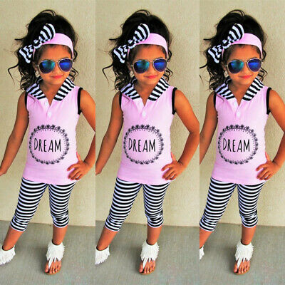 3bfad267cf5d2 Toddler Kids Baby Girl Hooded Top T-shirt Pants Stripes Leggings Outfits  Clothes