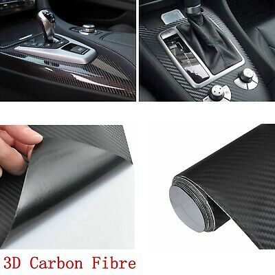 New 3D Carbon Fibre Vinyl Wrap (Air / Bubble Free) Black 2m x 600mm Sticker UK