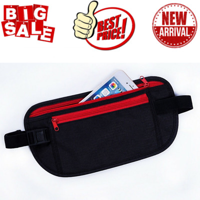 Black Travel Waist Pouch For Passport Money Belt Bag Hidden Security Wallet NEW