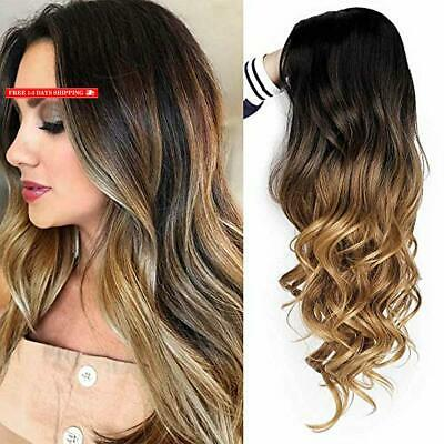 ForQueens Brown Ombre Wigs Long Curly Side Part Wig 2 Tone Black to Brown Wavy W